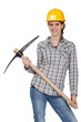 Woman posing with pick-axe
