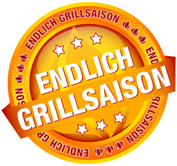 "Button Banner ""Endlich Grillsaison"" orange"