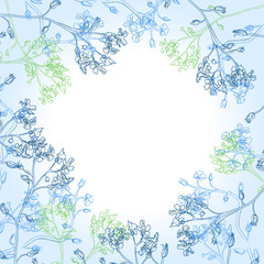 Vector frame with blue flowers