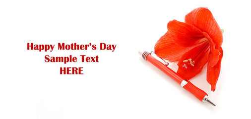 Lily Flowr with Pen and space for Custom mothers Day text