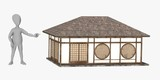 3d render of cartoon character with japanese house