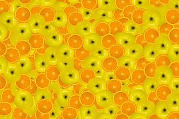 apple and cut orange background