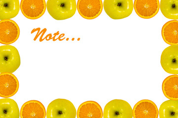Orange and apple background for notes