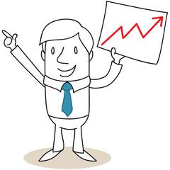 Geschäftsmann, Schild, Börsenkurs