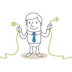 Geschäftsmann, Stecker, Kabel, Energiesparen