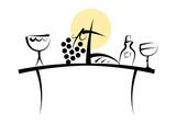 Abstraktes Symbol-Set: Christliches Abendmahl