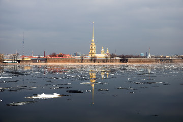 Петропавловская крепость, ранняя весна. Санкт-Петербург. Россия