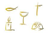 Clipart-Set: Symbole für Religion und Feiertage (Gold)