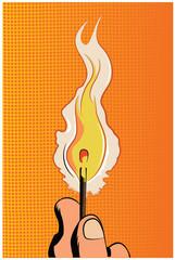 Pop art vector illustration.Burning wooden match
