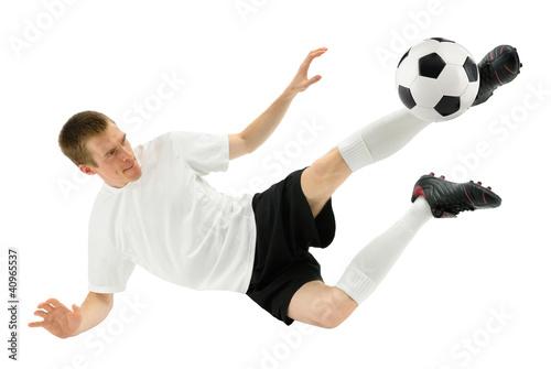 Fußballer zeigt einen gekonnten Schuss