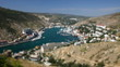 Tilt-shift miniature effect of Balaklava bay, Crimea. Timelapse