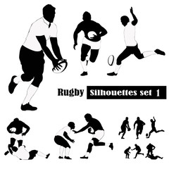 Rugby silhouettes set .Vector illustrations