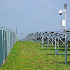 Security of solar power plant. Camera secure solar panels.