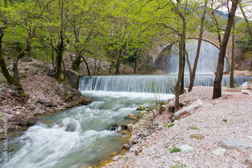 Palaiokarya bridge and waterfall, Thessaly, Greece