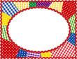 Patchwork Quilt Frame, copy space, rickrack border