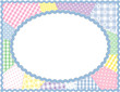 Pastel Patchwork Quilt Frame, copy space, rickrack border