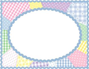 Pastel Patchwork Quilt Frame, copy space, rickrack border