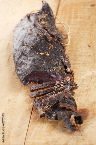 Biltong - dry cured beef meat , cutted