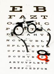 occhiali di prova poggiati su ottotipo