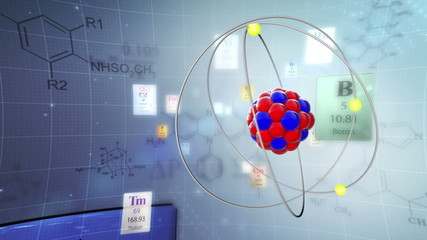 Atom model with elements of Periodic table and chemical formulas