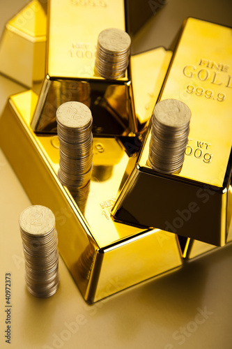 Coins and gold bars, Finance Concept