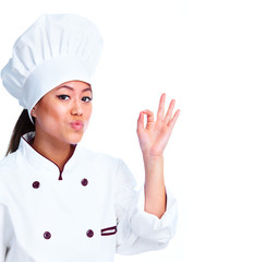 Young chinese chef woman.