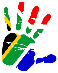 hand print flag of South Africa