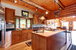 Log cabin large kitchen interior.