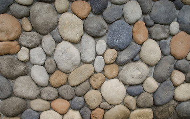 Multicolor different size Stones with cement on wall