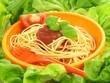 Spaghetti napoli in lettuce