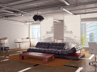Office interior with sofa