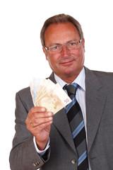 Mann mit Geldfächer