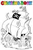 Coloring book with pirate ship 1 - 40977395