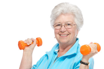 Attractive senior woman at health club