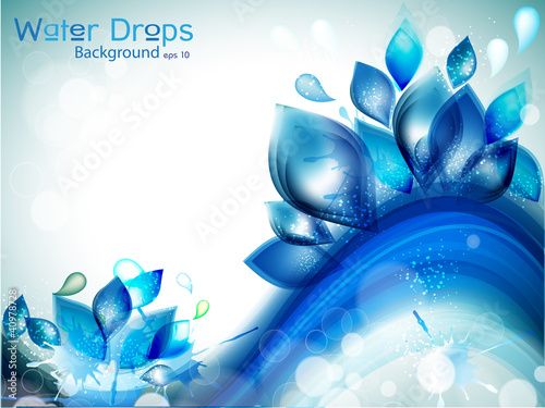 Abstract water background with splash and glitter effects.
