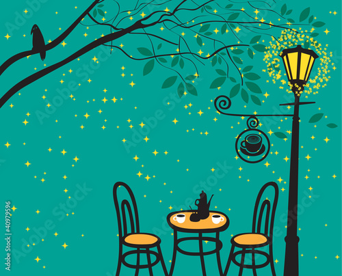 night landscape with night cafe in the streetlight © paseven