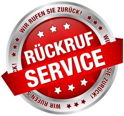 """Button Banner """"Rückruf Service"""" rot/silber"""