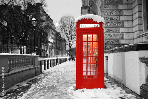 Poster Rood, zwart, wit London Telephone Booth