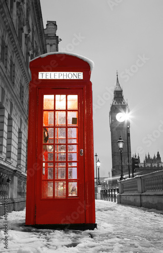 Poster Rood, zwart, wit London Telephone Booth and Big Ben