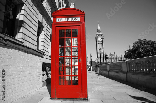 Aluminium Rood, zwart, wit Big Ben and Red Telephone Booth