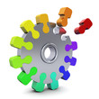 Zahnrad - Puzzle bunt
