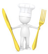 The Master Chef holding a Golden fork and a knife
