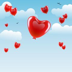 Luftballons in Herzchenform