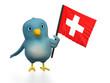 "Blue bird (""Bluebert"") with the flag of Switzerland"