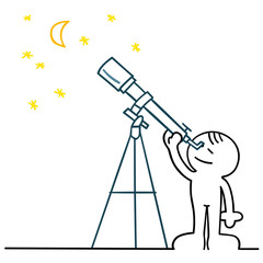 figur beobachtet himmel mit teleskop