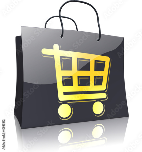 Black Line Shopping Bag: Shopping Trolley Gold