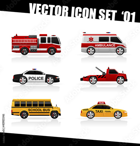 Set of the car icons in vector.