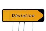 Panneau de déviation à talon cache flèche poster