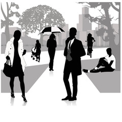 People walking on the park.Vector illustration