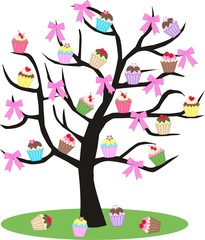 a tree full of cupcakes